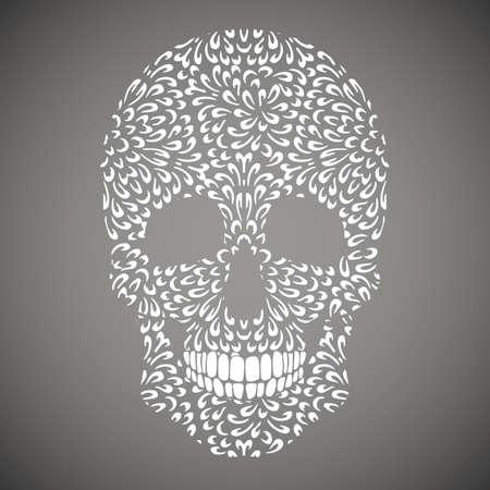 mehendi: Abstract skull made of white mehendi pattern