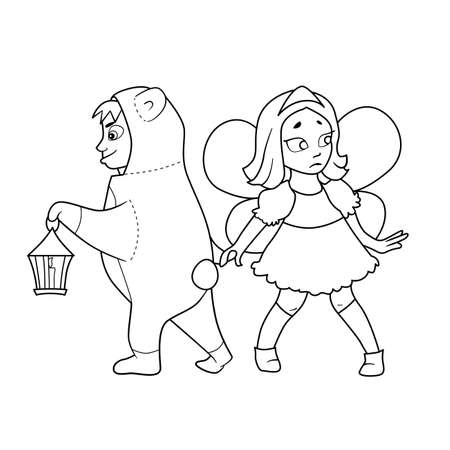 knee sock: Coloring book with Cartoon of boy in costume of bear with lantern in hand and girl with fairy wings