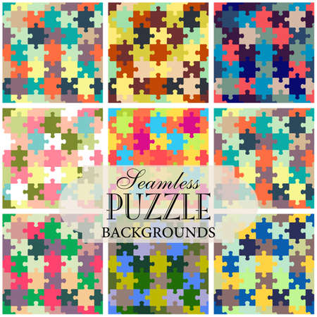 topic: Collection of seamless backgrounds on the topic of puzzle pattern