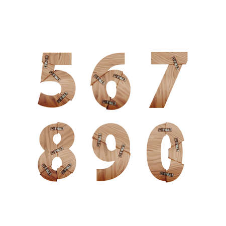 nail bar: Numbers made of wood bars connected with metal plates Illustration