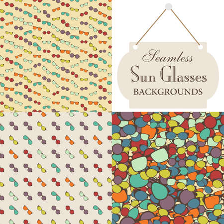 sun glasses: Collection of seamless backgrounds on the topic of sun glasses