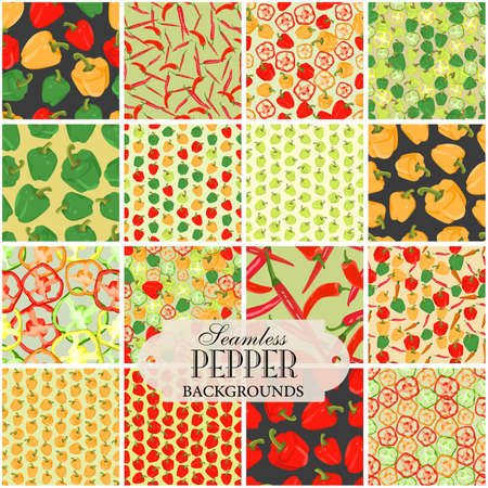 abstract art vegetables: Collection of seamless backgrounds on the topic of pepper Illustration
