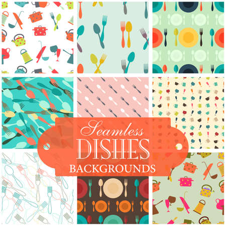 kitchen utensil: Collection of seamless backgrounds on the topic of dishes Illustration