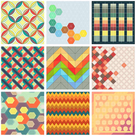 patchwork: Collection of colorful patchwork backgrounds