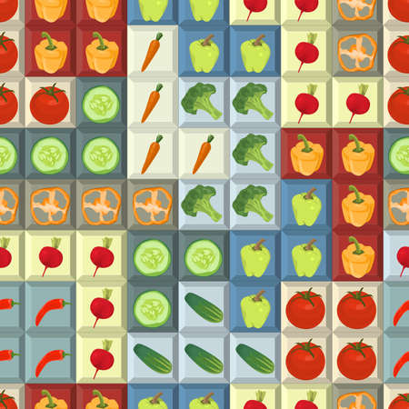 Seamless colorful background with vegetables on tetris shapes Illustration