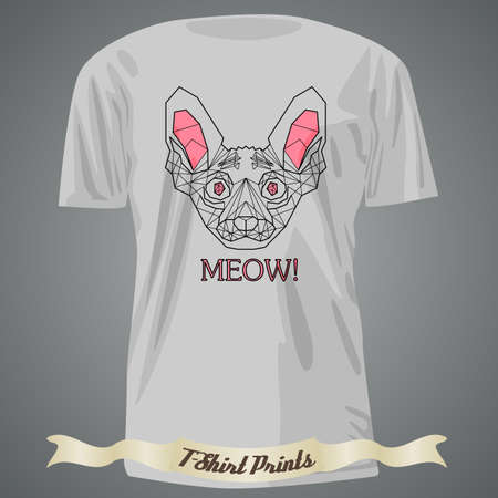 meow: t-shirt design with Head of Cat breed sphinx in linear design with text Meow