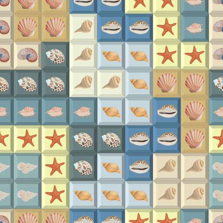 tetris: Seamless colorful background with sea shells on tetris shapes
