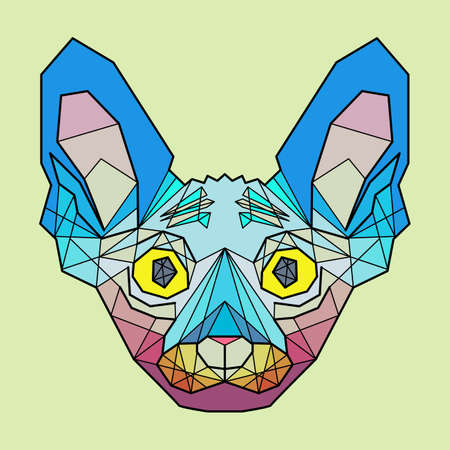 sphinx: Colorful Head of Cat breed sphinx in linear graphic design Illustration