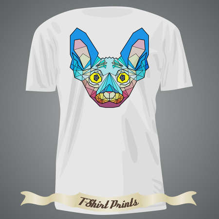 sphinx: T-shirt design with Colorful Head of Cat breed sphinx in linear graphic design