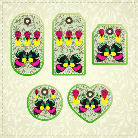 removable: Collection of  colorful tags with ornate pattern and butterflies  with  removable holes