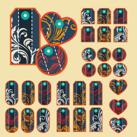 removable: Collection of colorful tags with ornate pattern with main dark blue color with  removable holes Illustration