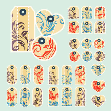 removable: Collection of  colorful tags with ornate pattern with main beige color with  removable holes