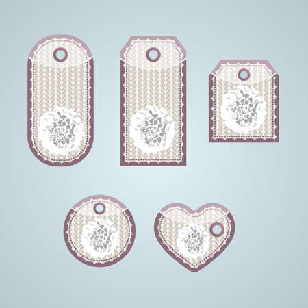 removable: Collection of tags with ornate pattern, soft design, with flower on it with  removable holes