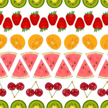 arranged: Seamless colorful background made of different fruits arranged in lines