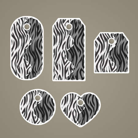 removable: Collection of colorful tags with animal pattern imitating zebra fur with  removable holes