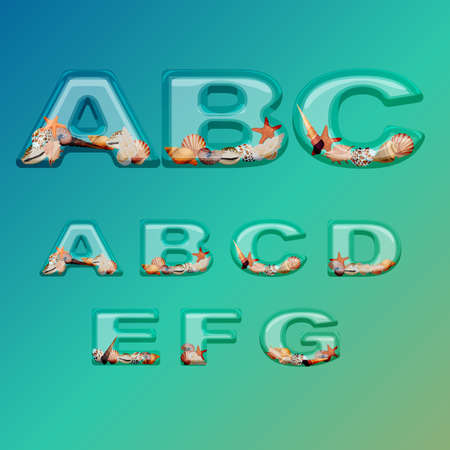 filled: Alphabet stylized glass filled with sea shells