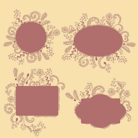 ahogarse: Colecci�n de cuadros con la mano ahogar elementos florales Vectores