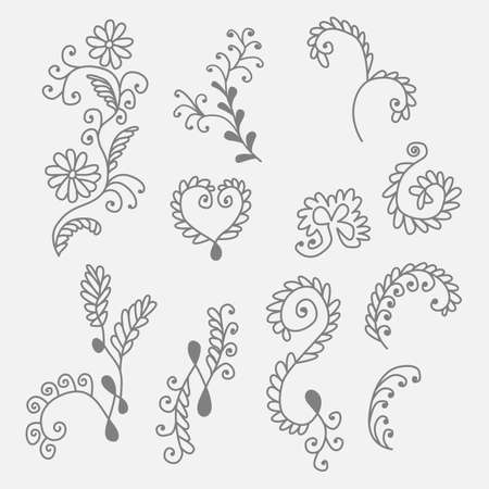 drown: Collection of hand drown floral elements Illustration