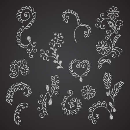 ahogarse: Colecci�n de la mano ahogar elementos florales imitando tiza en el pizarr�n negro Vectores