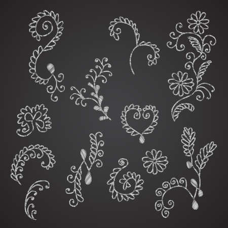 drown: Collection of hand drown floral elements imitating chalk on black chalkboard