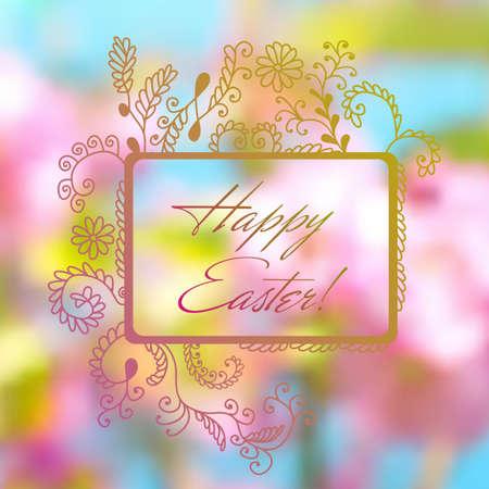drown: Postal colorida de Pascua con el marco de la mano se ahoga Vectores