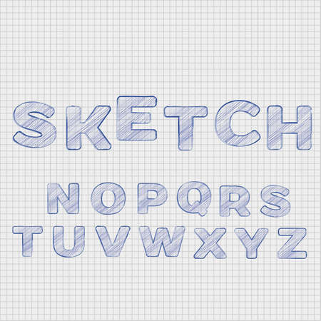 the section: Alphabet in sketch style on sheet in a section