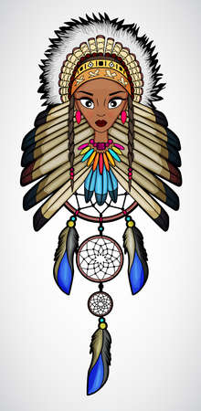native american girl: Cartoon of Indian Native American Girl with dream catcher