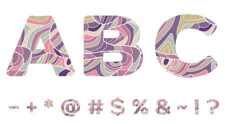 Colorful Symbols with wavy doodle pattern Ilustração
