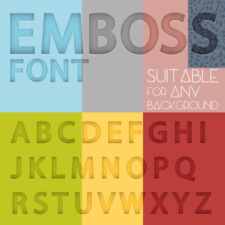 emboss: Alphabet with emboss effect suitable for any background