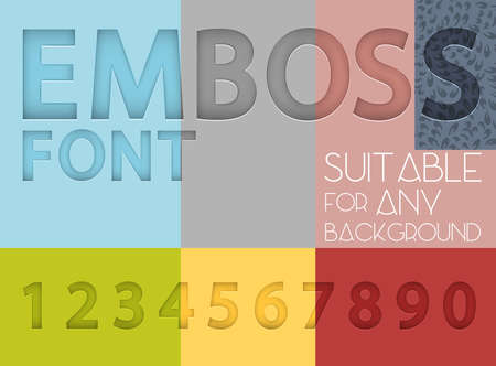 emboss: Numbers with emboss effect suitable for any background Illustration