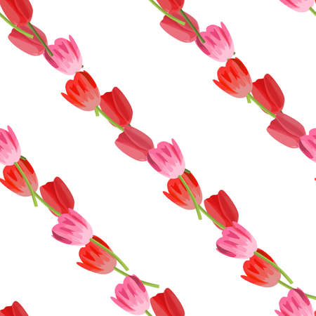 diagonally: Seamless colorful background with tulips placed diagonally Illustration