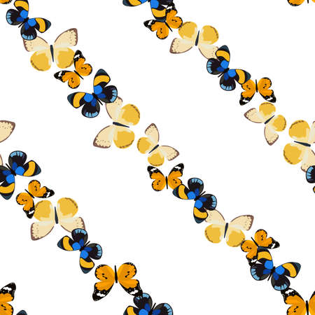 diagonally: Seamless colorful background with butterfly placed diagonally