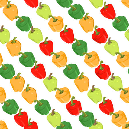 diagonally: Seamless colorful background with peppers placed diagonally