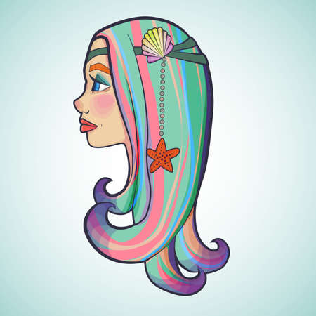 Illustration with cartoon of a girl with colorful hair