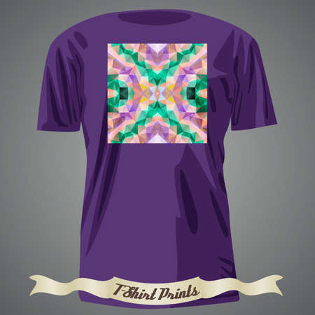 t square: T-shirt design with colorful square shape with abstract fractal art