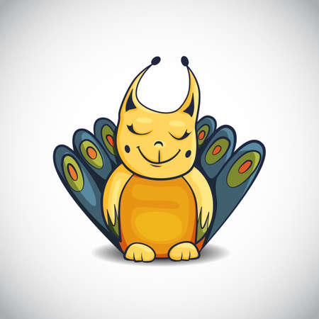 Cartoon of cute smiling fantasy creature with closed eyes