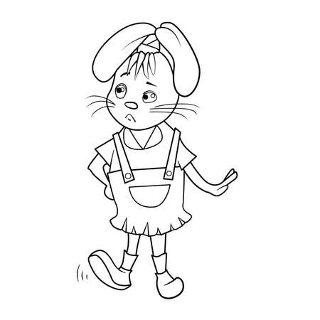 Coloring book with Cartoon of rabbit girl in overalls