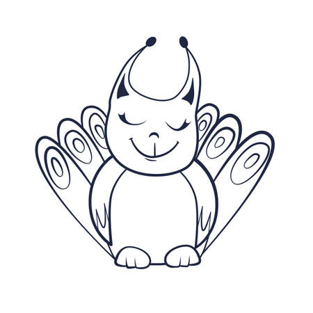 Coloring book with Cartoon of cute smiling fantasy creature with closed eyes Иллюстрация