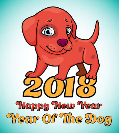 Illustration with cartoon of cute puppy with text - Happy new year, year of the dog