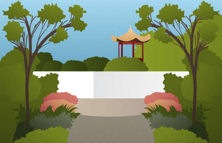 Illustration with abstract asian garden with trees and grass with texture