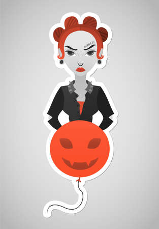 Colorful illustration of girl in modern flat style with red hair, grumpy face, tatoo with hashtag sweety under the brow, wearing in jacket and holding red balloon with evil face