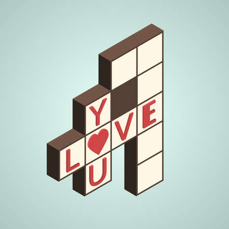 Illustration of crossword with text -love you- on it, isometric style