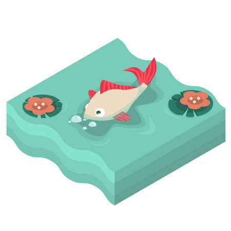 Fish with red fins and bubbles around in pond with water lilies in isometric style