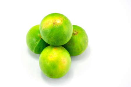 admixture: Green lemon on white background