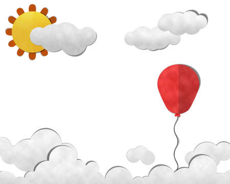 Paper Cut and Past, balloon in  Sky with Cloudy Background photo