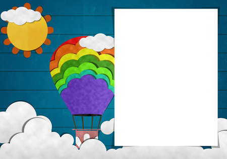 Blank paper and Colorful Balloon in day Sky on Wooden Background photo