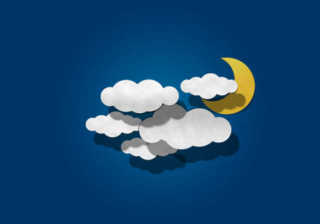 cresent: Moon and Cloud on Blue Background