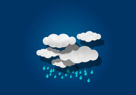 papaer: Raindrop and Cloud on Blue Background Stock Photo