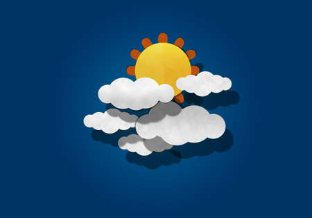papaer: Big sun and Cloud on Blue Background