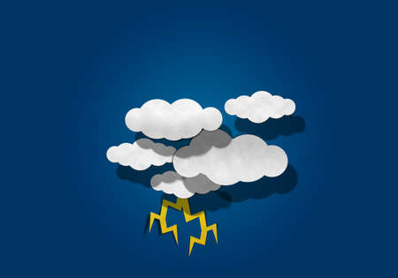 papaer: Thunder Light and Cloud on Blue Background